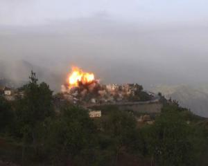 قصف مقام السيد حسين الحوثي في صعدة