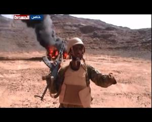 Yemeni soldier declaring victory over Saudi soldiers in Jizan area south of KSA