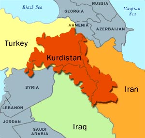 Map of Middle East with Kurdistan