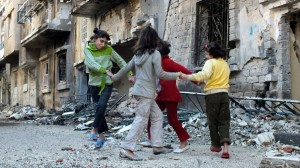 Girls playing in Homs