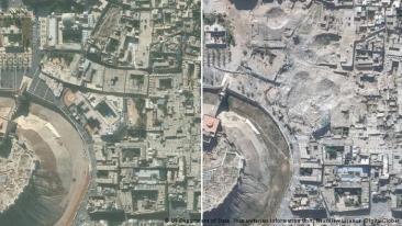 صورة من فوق تظهر الفرق بين محيط قلعة حلب التاريخية قبل الأحداث وبعدها. دمار كبير غير ملامح المنطقة نتيجة المعارك القوية.
